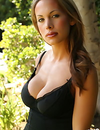 Busty Alluring Vixen babe Brooke teases with her big boobs outdoors