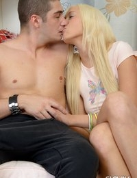 Sexy blonde Slovak teen babe Brooke sucking and riding anally a giant dick