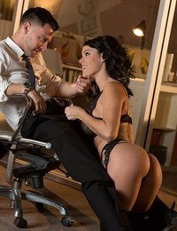 Would kind of terrible luck had Seth working late at the office just as the clock ticked down to the new year? Thankfully his girl Peta Jensen arrived to surprise him for the midnight kiss. After hiking up her skirt to grab a handful of her juicy butt, Seth slipped Peta out of her dress and admired the stockings and garters she'd worn for the occasion. Peta sat Seth down so she could delay his gratification with a teasing lap dance, and made him wait as long as he could stand it before pulling his pants down. When Peta finally put her lips on Seth's member, she shoved it to the back of throat and pushed her lips to the base of the shaft over and over. Seth bent her over the table and ate her out from behind, then slipped his cock in her. Watch how hard and raw they fucked on the desk until Seth was ready to pop a hot load on Peta's big round breasts.