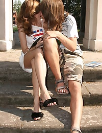 These two grasping teens met in the city and changed with..
