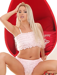 Blonde Beauty Blanca Brooke Teases In Frilly Pink Lingerie